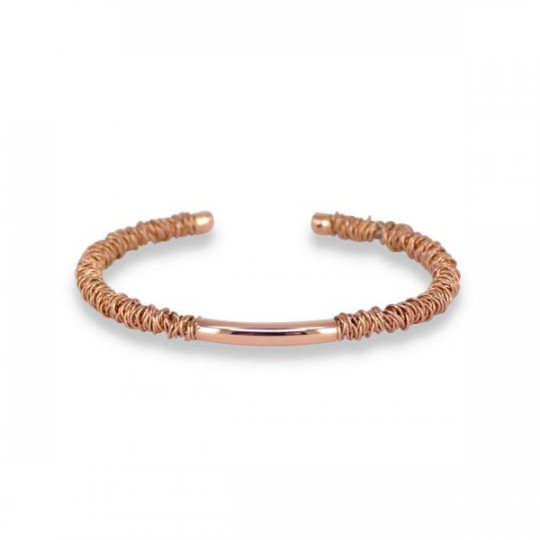 CANE BRACELET WITH WIRE PINK GOLD