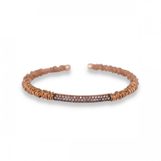 PULSERA DE CAÑA CON BRILLANTES BROWN