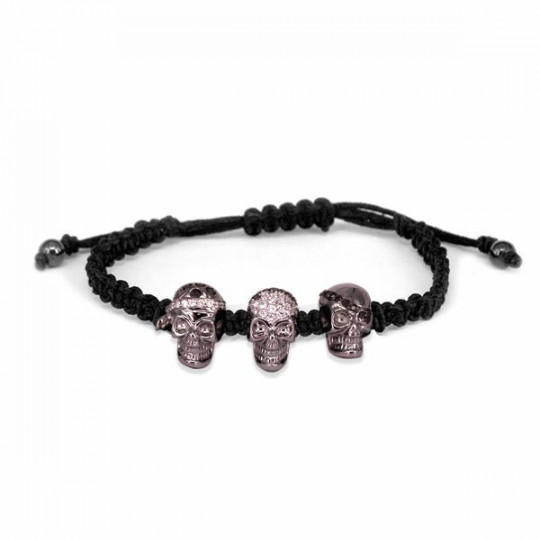 CORD BRACELET WITH PIRATE SKULLS