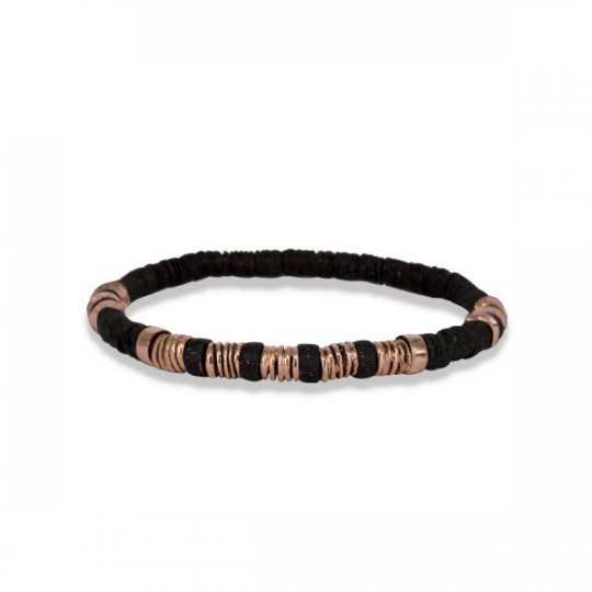 ELASTIC BRONZE BRACELET WITH 5 PINK GOLD SPRINGS