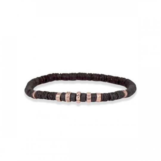 ELASTIC BRONZE BRACELET WITH ROSE GOLD DETAILS