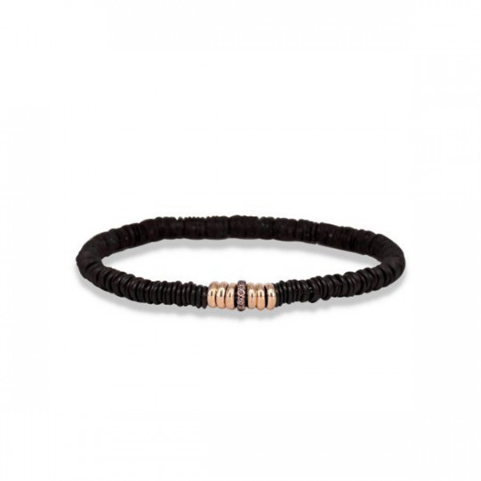 STEEL BRACELET WITH DIAMONDS AND PINK GOLD