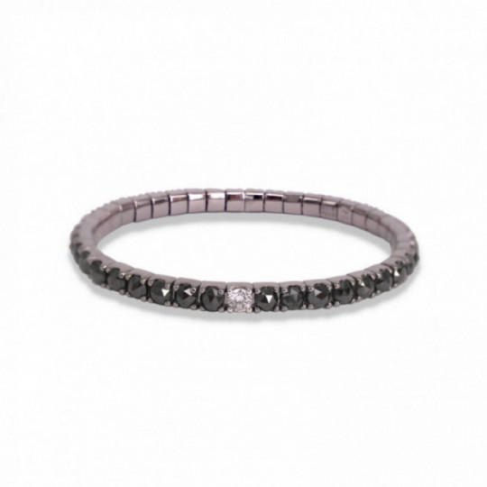 ELASTIC BRACELET WITH BLACK AND WHITE DIAMONDS