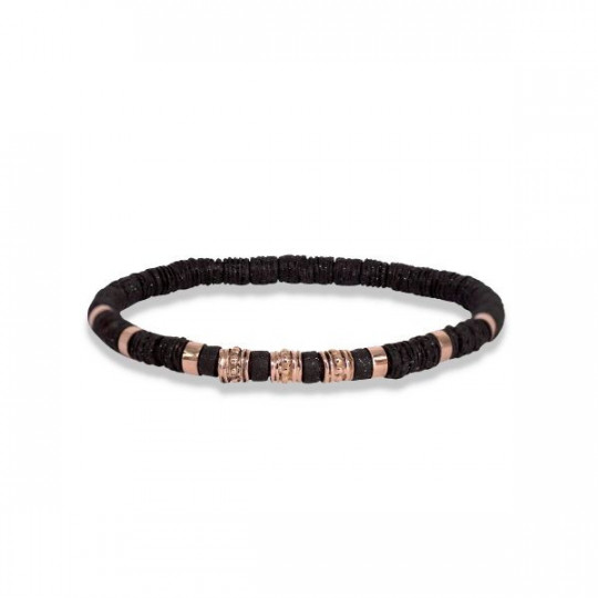 ELASTIC BRONZE BRACELET WITH PINK GOLD DESIGNS