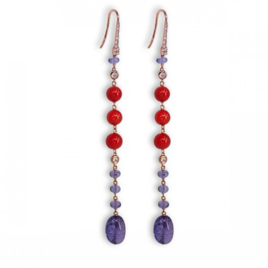 LONG EARRINGS WITH CORAL, TANZANITE AND DIAMONDS