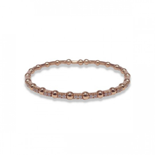 RIGID PINK GOLD BRACELET WITH WHITE DIAMONDS