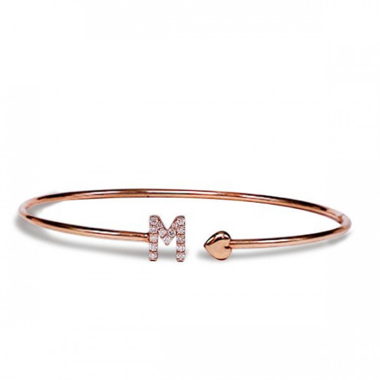 "RIGID BRACELET WITH LETTER ""M"" AND HEART"