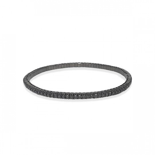 RIVIERE ELASTIC BRACELET WITH BLACK DIAMONDS