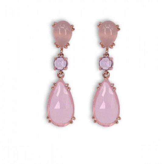 ROSE QUARTZ AND AMETHYST LONG EARRINGS