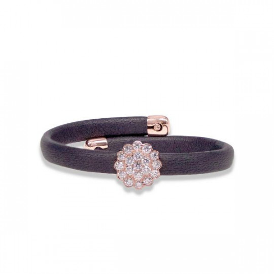 BLACK LEATHER BRACELET WITH PINK GOLD AND DIAMONDS