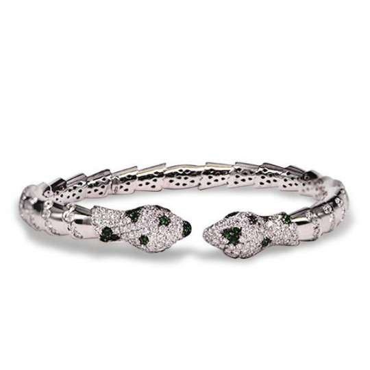 OPEN BRACELET WITH TWO HEADS OF SNAKE WITH SPARKLES AND TSAVORITA