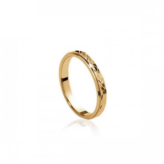 GOLD-PLATED SILVER RING WITH ENGRAVING