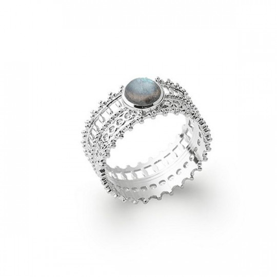 RHODIUM-PLATED SILVER RING WITH LABRADORITE