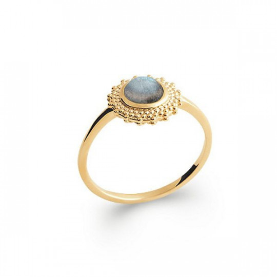 GOLD-PLATED SILVER RING WITH LABRADORITE