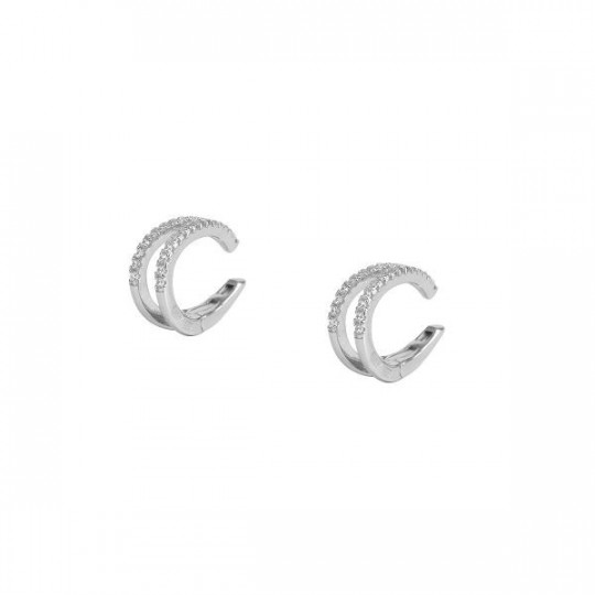 SILVER EAR CUFF EARRINGS WITH ZIRCONS BZ01-1009