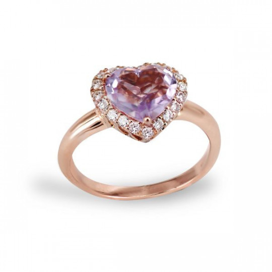 HEART RING OF DIAMONDS AND AMETHYST
