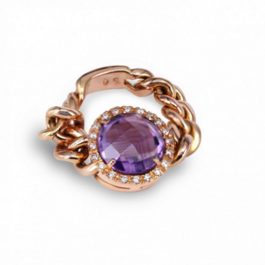 RING WITH CHAIN, AMETHYST AND DIAMONDS