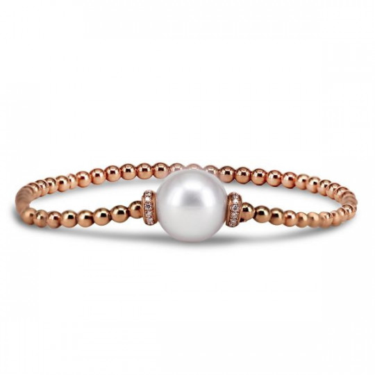ELASTIC BRACELET WITH PEARL AND DIAMONDS