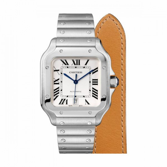 SANTOS DE CARTIER WATCH WSSA0009, LARGE MODEL, AUTOMATIC, STEEL, TWO INTERCHANGEABLE STRAPS