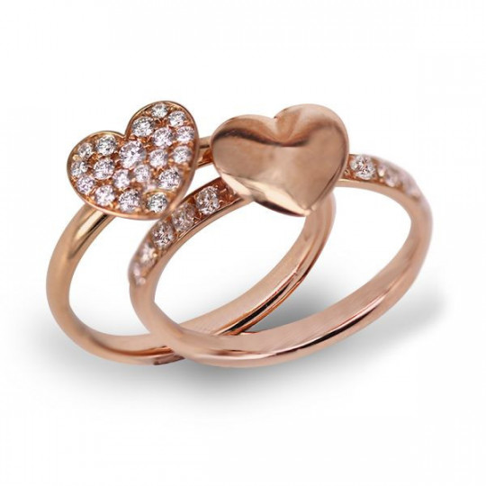 DOUBLE RING WITH HEARTS
