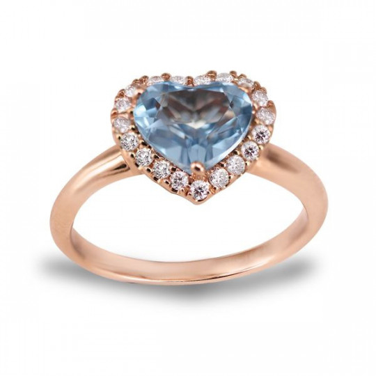 HEART RING, TOPAZ BLEU WITH DIAMONDS