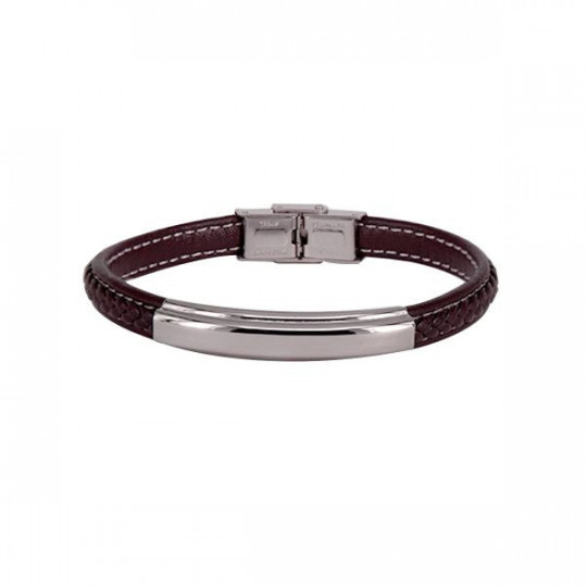 BROWN LEATHER AND STAINLESS STEEL BRACELET BR4795