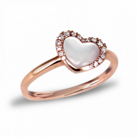 MOTHER-OF-PEARL AND DIAMOND HEART RING