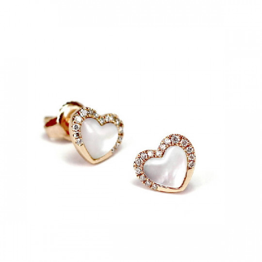 ROSE GOLD EARRINGS WITH DIAMONDS AND MOTHER PEARL