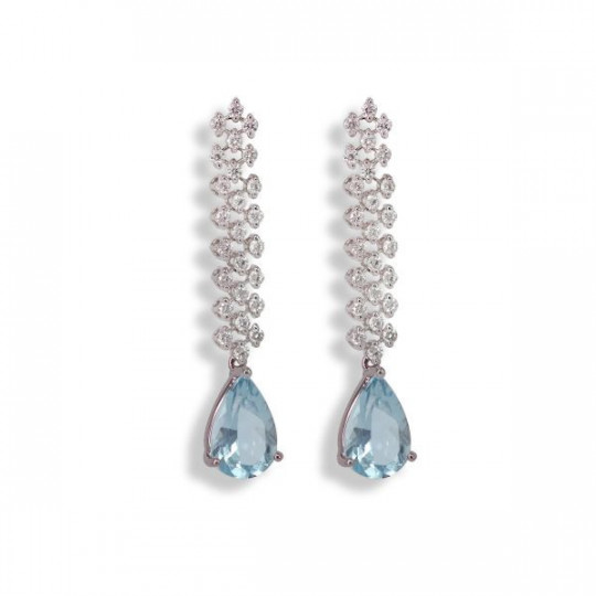 EARRINGS WITH DIAMOND AND AQUAMARINE