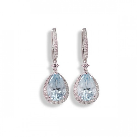 AQUAMARINE TEARDROP AND DIAMOND EARRINGS