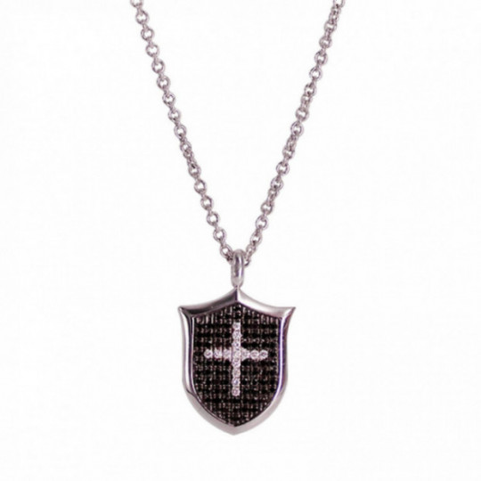 PENDANT WITH DIAMONS PLATE WITH CROSS