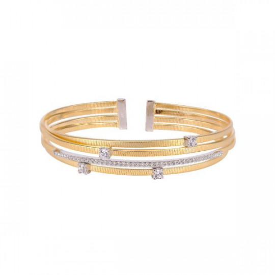 RIGID GOLD-PLATED SILVER BRACELET WITH ZIRCONS