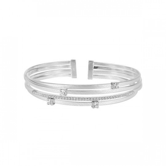 RIGID RHODIUM SILVER BRACELET WITH ZIRCONS