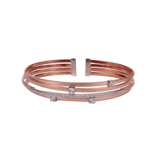 RIGID PINK SILVER BRACELET WITH ZIRCONS