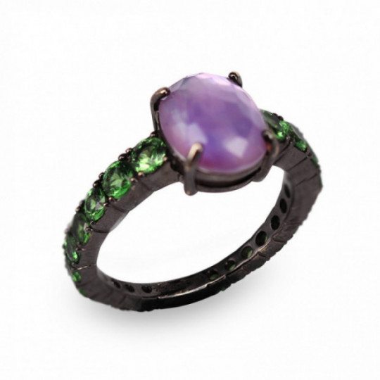 RING WITH AMETHYST AND PERIDOT