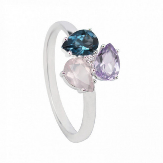 RING WITH AMETHYST, QUARTZ AND TOPAZ