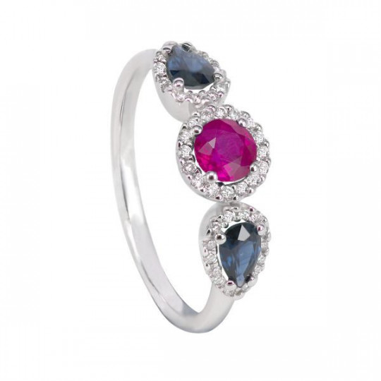 RING OF BRIGHT RUBIES AND SAPPHIRES