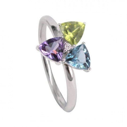 BRIGHT RING, AMETHYST, PERIDOT AND BLUE TOPAZ