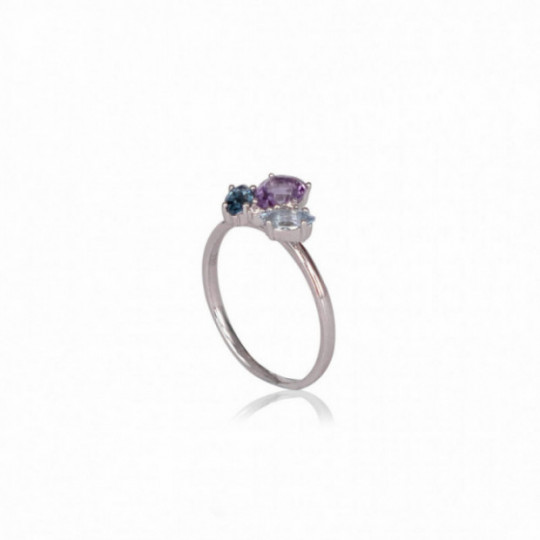 RING WITH AMETHYST AND BLUE TOPAZ