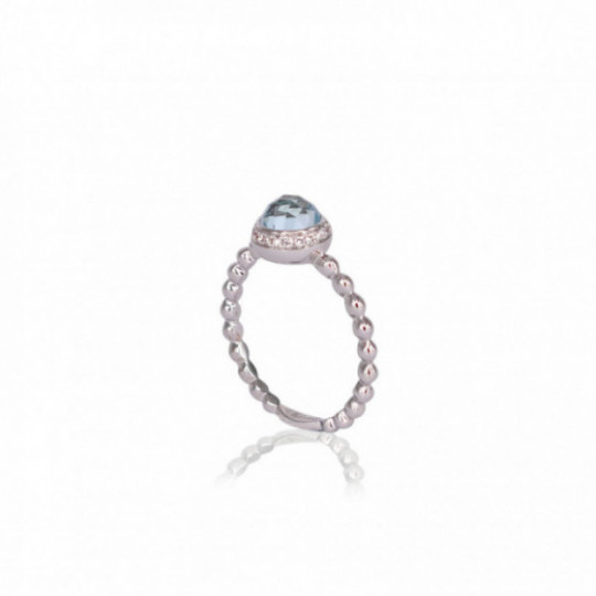 RING OF DIAMONDS AND BLUE TOPAZ