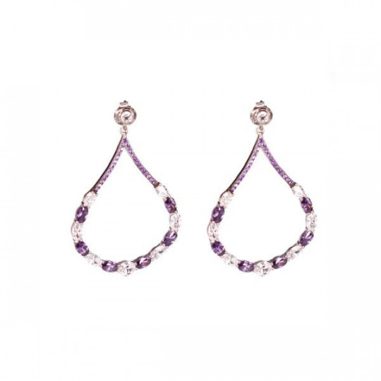 ZIRCONIA TEARDROP EARRINGS WHITE AND PURPLE