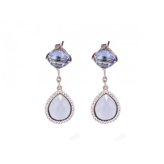 TRANSPARENT BLUE TEARDROP AND ZIRCONIA EARRINGS