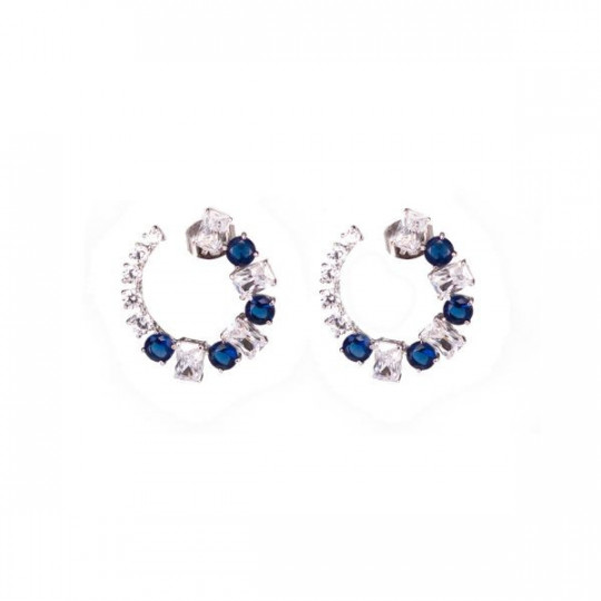 SILVER EARRINGS WITH WHITE AND BLUE ZIRCONIA