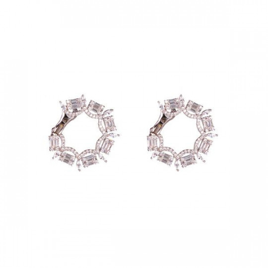 SILVER RING EARRINGS WITH ZIRCONS