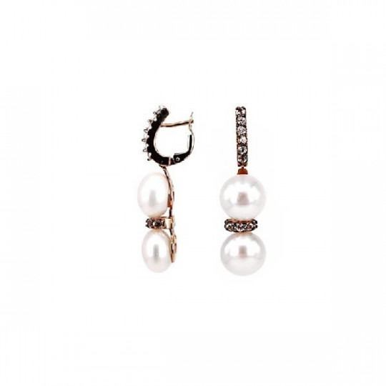 EARRINGS, PINK GOLD AND WHITE TOPACIO & PEARLS