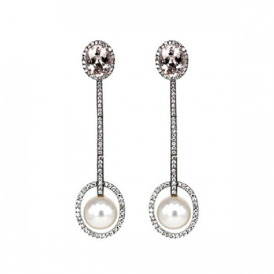 EARRINGS, LONG WITH PEARL & WHITE GOLD