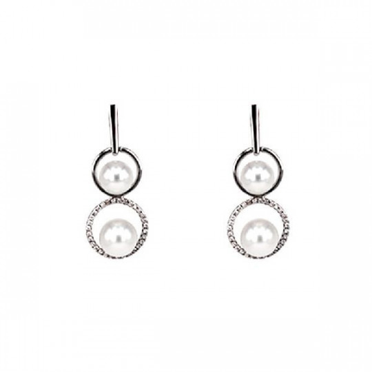 EARRINGS, BRILLANT & PEARL