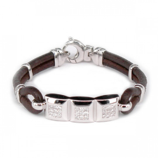 LEATHER BRACELET & WHITE GOLD