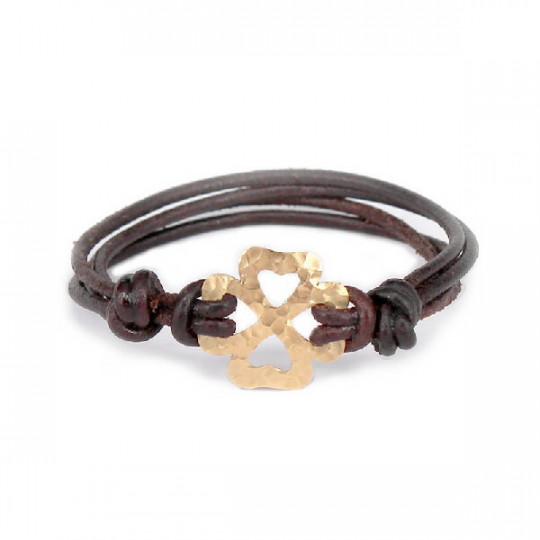 LEATHER BRACELET & CLOVER