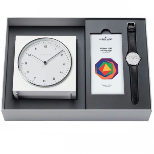 JUNGHANS MAX BILL 2017 EDITION CLOCK GIFT SET ALARM J.363/2715.00